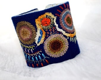 Fabric Bracelet Cuff Hand Embroidery Spinning Discs Fiesta Wrist Textile Cuff
