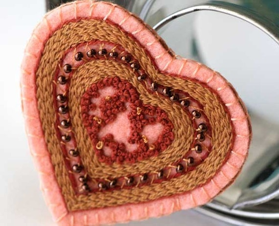 Heart Textile Fabric Brooch Hand Embroidery beaded heart copper
