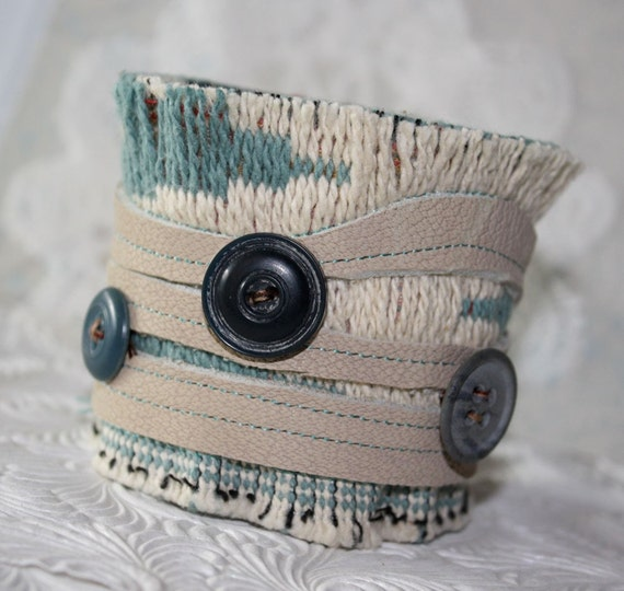 Blue Straw A Leather and Textile Mixed Media Cuff
