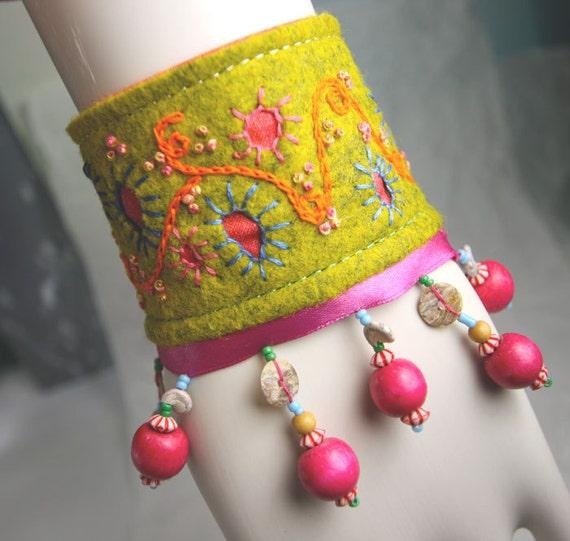 Carnival Dreams Hand Embroidered wrist cuff