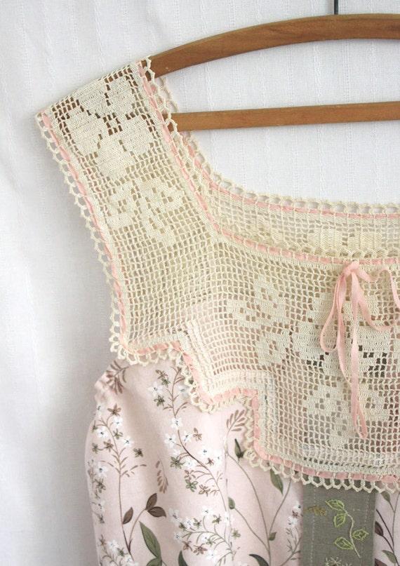 Camisole tank hand embroidery linen vintage crochet yoke