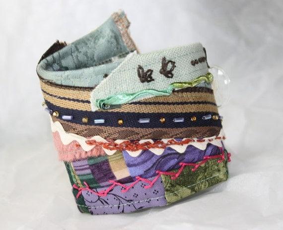 Crazy Quilt Fabric Bracelet Textile Wrist Cuff Patchwork Embellished