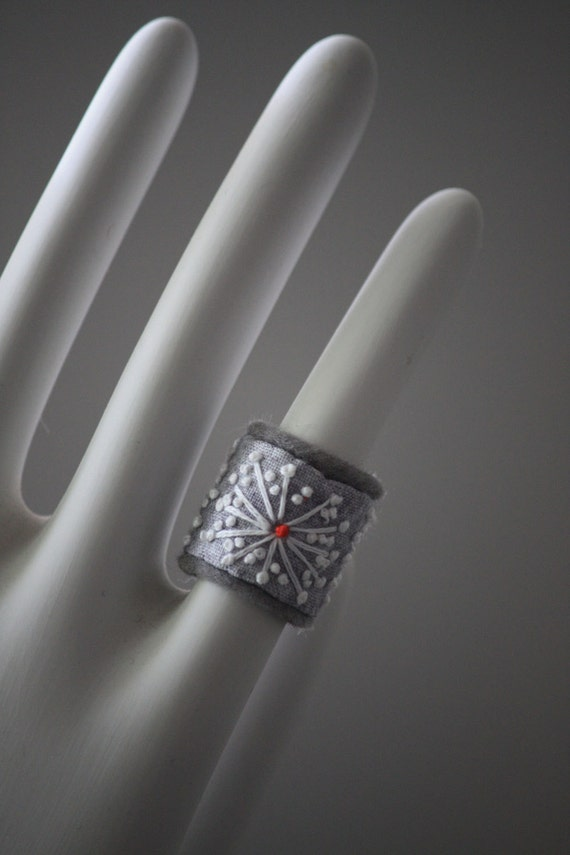Fiber Ring Eco Friendly more Hand Embroidery Silver Snowflake Textile Jewelry Gray Hand Embroidered