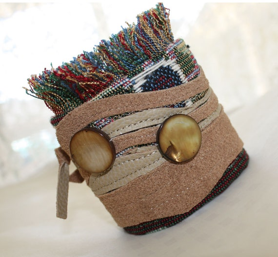 Textile Fabric Leather Cuff Brown Leather Wrist Fringe