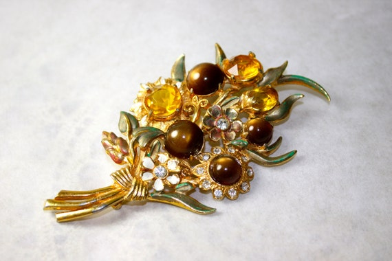 Vintage Brooch Bouquet of autumn sunflowers daisies amber tiger eye
