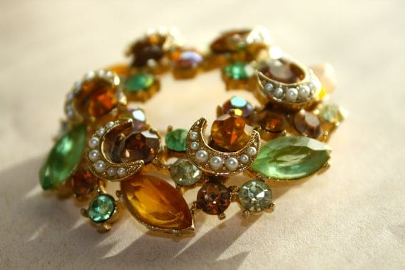 Vintage Brooch Amber Root beer green crescent moon pearls