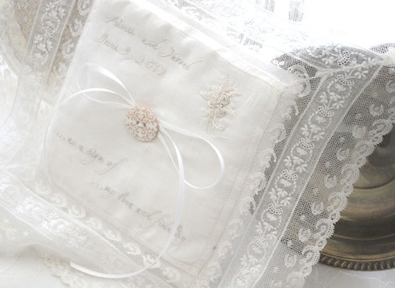 SPECIAL ORDER Ring Bearer Pillow Bride Vintage Etsy Handmade Wedding Registry Personalized Hand Embroidery Customized