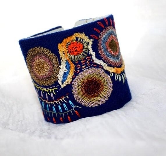 Fabric Bracelet Cuff Hand Embroidery Spinning Discs Fiesta Wrist Textile Cuff