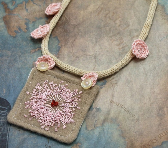 Hand Embroidery Necklace Textile Fiber Queen Annes Lace Textile Pink