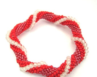 Red  Beads Crocheted Bangle Bracelet for a small wrist. BR-0037