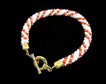 White, Red and Gold Seed Beads Crocheted 8 inches Bracelet with a Gold Toggle Clasp, BR-0068