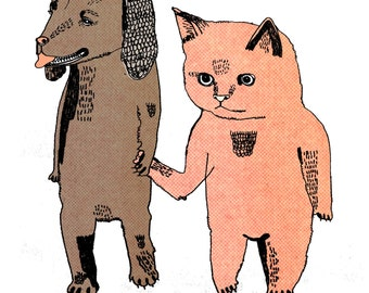 Cat and Dog 8 x 11 Print