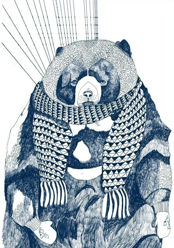 SALE Woolly Bear Limited Edition A2 Screenprint - Blue