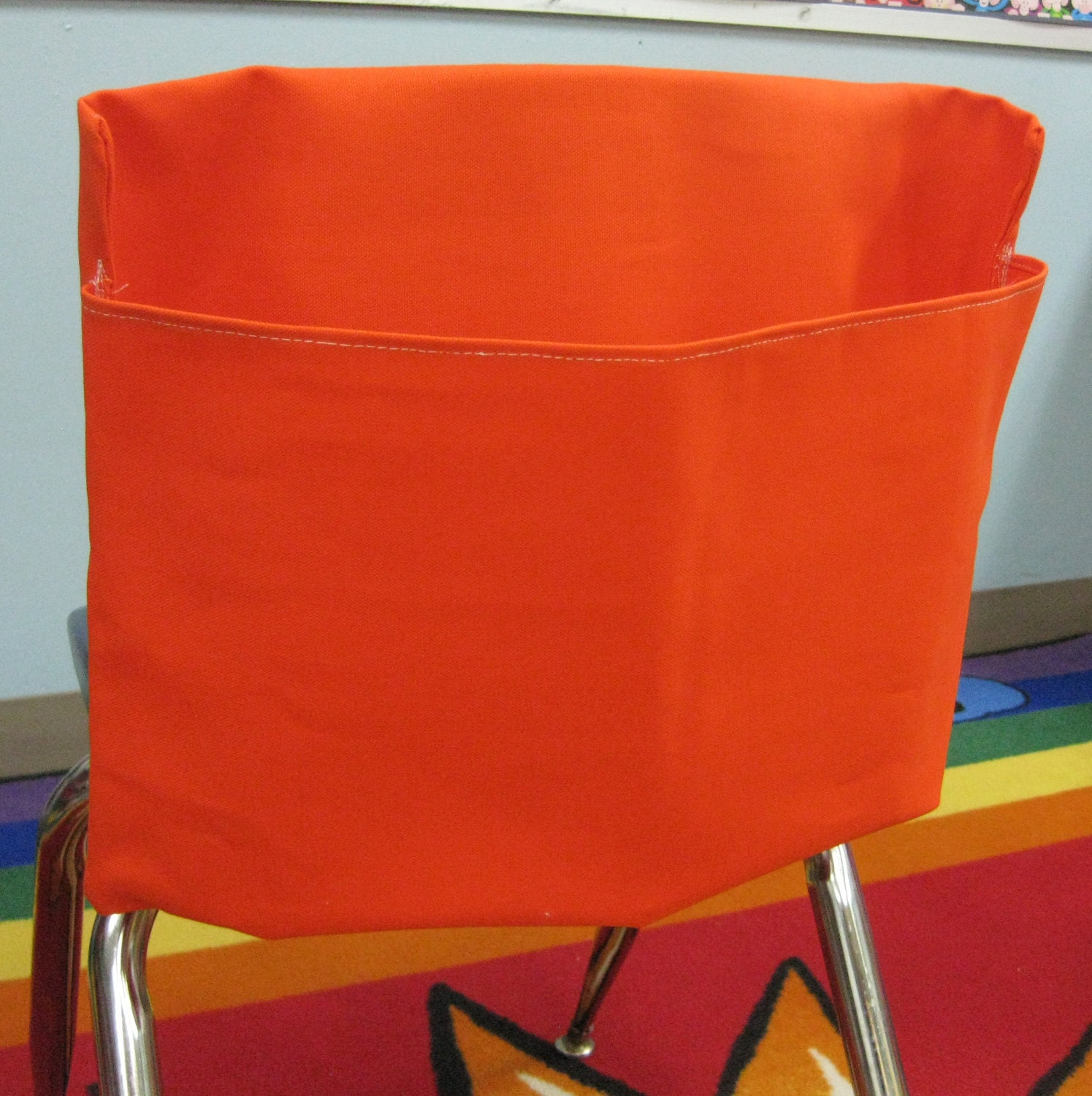 1 ORANGE Classroom Chair Pockets Seat Sacks Desk Organizer