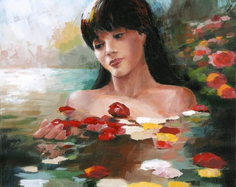 Young Woman in Pond