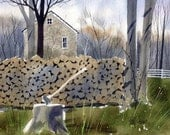 Woodpile-Print from an original watercolor painting