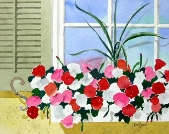 Flowerbox-Print from an original watercolor painting