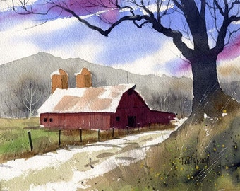 Old Barn-Print of an original watercolor painting