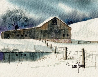 Quiet Snow-Print of an original watercolor painting