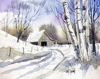 Light Snow-Print from an original watercolor painting