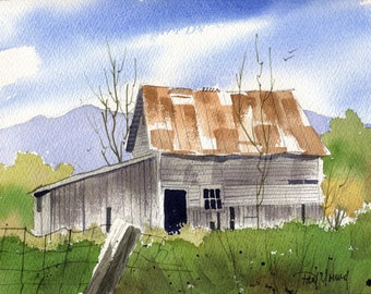Old Shed-Print from an original watercolor painting