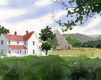 Farmhouse-Print from an original watercolor painting