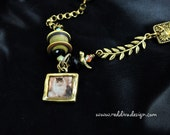 Cats Love Birds Fun Themed Antique Brass and Resin Necklace