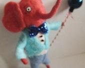 Spun Cotton Elephant boy ornament by Maria Pahls