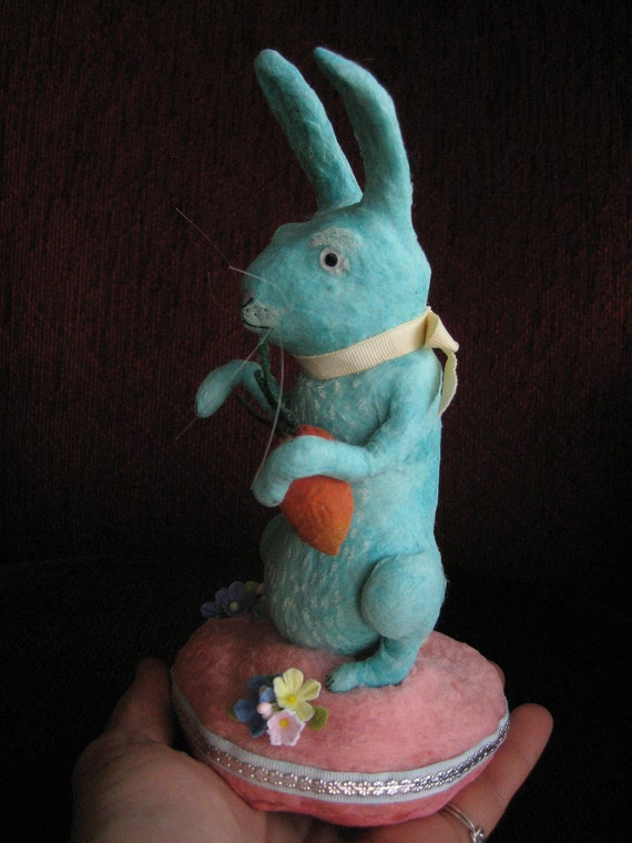 Big Blue Spun Cotton Easter Rabbit