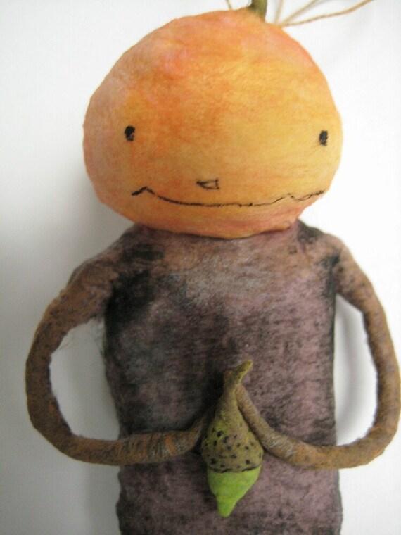 Spun Cotton Halloween Jack O Lantern Boy ornament by maria pahls