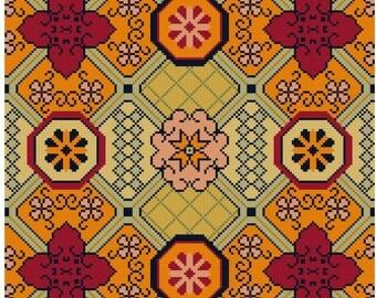 Good Fortune Antique Chinese textile adaptation Cross Stitch pattern PDF