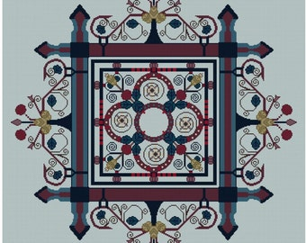 Arts and Crafts adaptation Blue Leaf Wreath  Cross stitch pattern PDF
