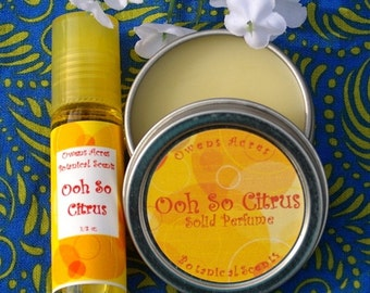 Natural Perfume Gift Set, Ooh So Citrus Roll On and Solid Perfume Set, Roll On Perfume, Solid Perfume, natural perfume, perfume oil