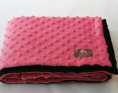Minky Blanket- Bubble gum Pink and Black  35 x 30