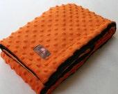 Minky Blanket-  Orange and Black  35 x 30