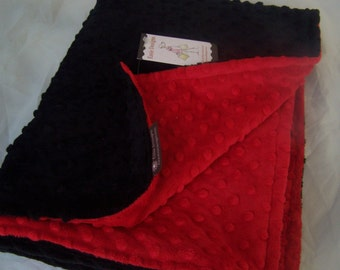 Minky Blanket- Red and Black  35 x 30