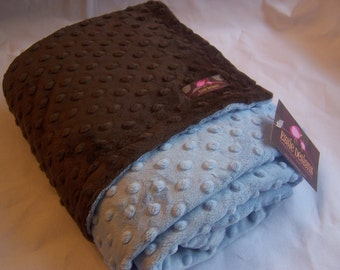 Minky Blanket- Brown and Baby Blue 35 x 30  Your Second Item Ships Free