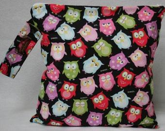 Wet Bag-Large Waterproof Wet Bag- 12.5 x 12.5- Snap Handle and Zipper- Owls