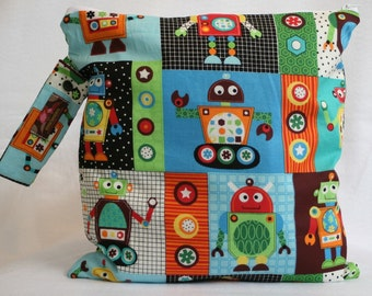 Wet Bag For Cloth Diapers,Wet Bag, Cloth Diaper Wet Bag, Diaper Bag,Cloth Pads,Robot Robots