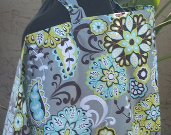 Nursing Cover- Star Flower- Gray-Brown-Green- Aqua