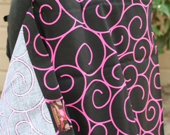 Nursing Cover Black and Hot Pink Swirls  Over 40 Designs In My Shop