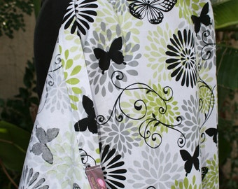 Nursing Cover - Black and Green Butterfly