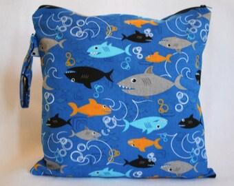Wet Bag,Daper bag,  Bag for Cloth Diapers, Waterproof Wet Bag , Wet Beach Bag, Baby Boy gift -Shark Boy