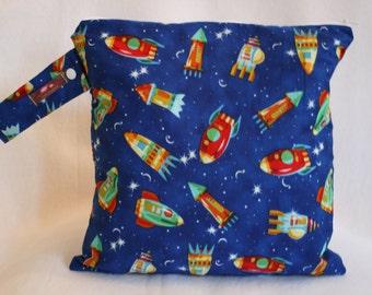 Wet Dry Bag, Cloth diaper Wet Bag, Wet bag, Beach Bag, Sports Bag, Baby Boy Gift,  Space Ships Blue, Rockets