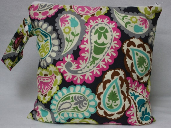 Wet Bag-Large Waterproof Wet Bag- Wet bag for Cloth Pads and Diapers- Gray Paisley