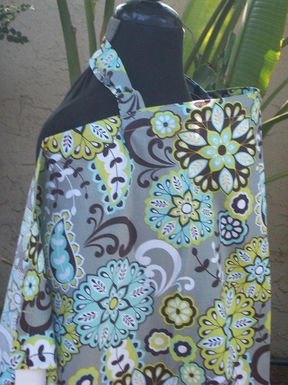 Nursing Cover, Breastfeeding Feeding Cover up, Nursing cover up,  Floral Gray and Brown Cover- New Mom Gift