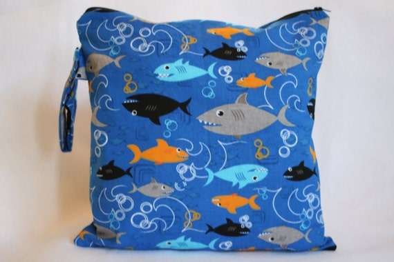 Wet Bag,Daper bag,  Waterproof Wet Bag , Swimsuit Bag , Beach Bag -Shark Boy