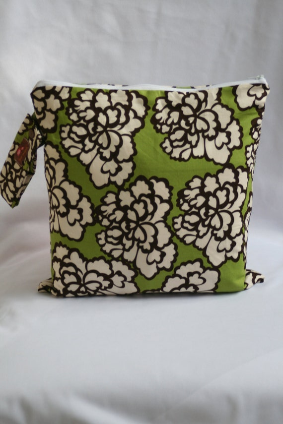 Cloth Diaper Wet Bag Large    Green Brown Peony