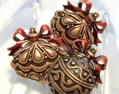 Xmas Ornament brooch JJ  Christmas scatter pins - LOT of 3 copper tone