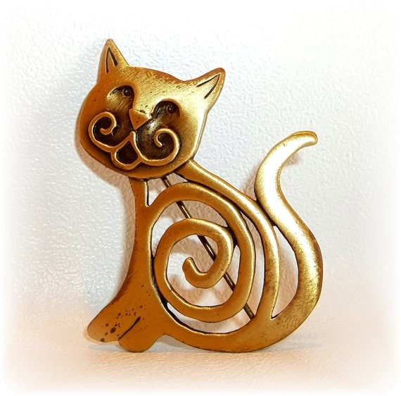 JJ Cat pin Artifacts brooch new old stock